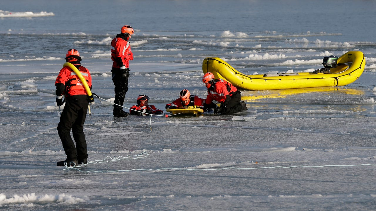 The Sheboygan U.S. Coast Guard station members practiced this week to keep their skills sharp and to earn certifications in ice rescues.  The ice and cold of winter makes the prospect of saving someone from an icy death and important skill.