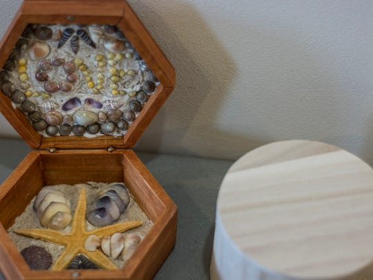 An example of a sailor's valentine, shown in a class at the Indian River Life-Saving Station Museum.