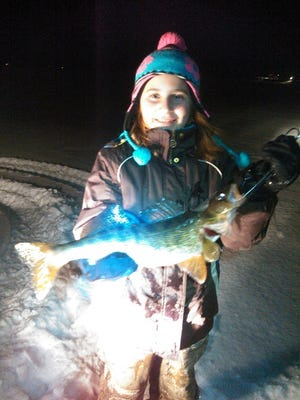 Halle Derleth with her 19 inch walleye.