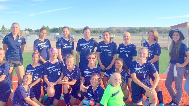 Members of the Silver High girls soccer team are, bottom row, from left, Bethany Stott, Gabby Barragan, and Daniel Lewis. Next row, from left, Grace Koury, Xochitly Triana, Stephanie Frisch, Denali Burke, Linda Good, Deedrie Contreras, and Megan Waters. Back row, are from left, Michelle Narvaez, Kate Boyce, Jossephine Flores, Tristen Montenegro, Raeya Hernandez, Amy Rivera, Nikki White, Aji Claussen, Jordan Chavez and Brooke Sainz.