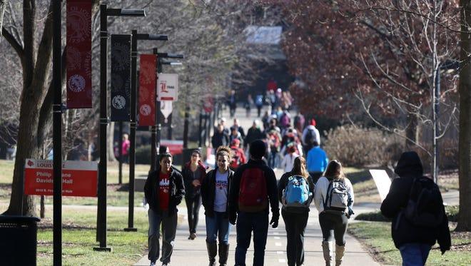 Walkway on the Eskstrom Campus of the University of Louisville.