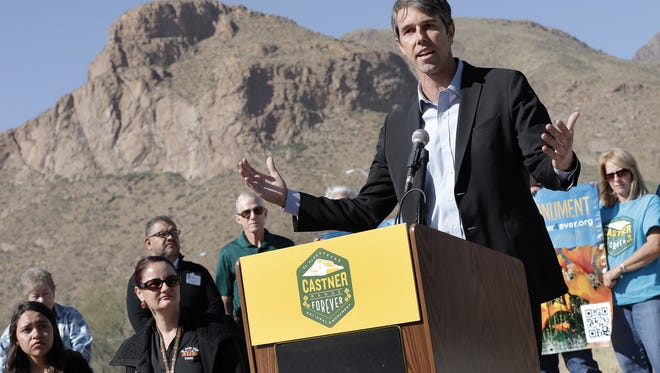 """U.S. Rep. Beto O'Rourke, D-El Paso, speaks at a news conference Thursday outside the El Paso Museum of Archaeology on Trans Mountain Road. He said he is """"cautiously optimistic"""" that President Barack Obama will designate Castner Range a national monument before leaving office."""