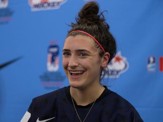 Defenseman Megan Keller was all smiles after helping