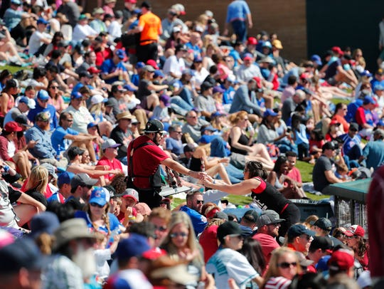Fans watch a spring training game between the Arizona
