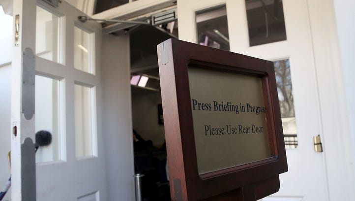 The entrance to the Brady Briefing Room after reporters