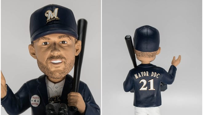 """The Travis Shaw """"Mayor of Ding Dong City"""" bobblehead will be given away Sunday, May 27, at Miller Park."""