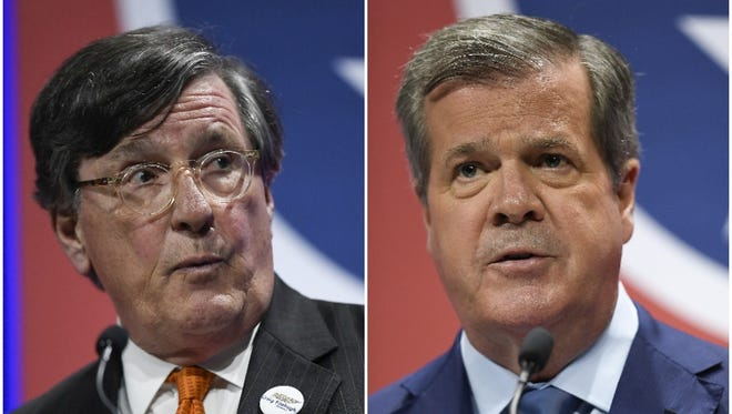 Craig Fitzhugh, left, and Karl Dean, right, are seeking the Democratic nomination for Tennessee governor