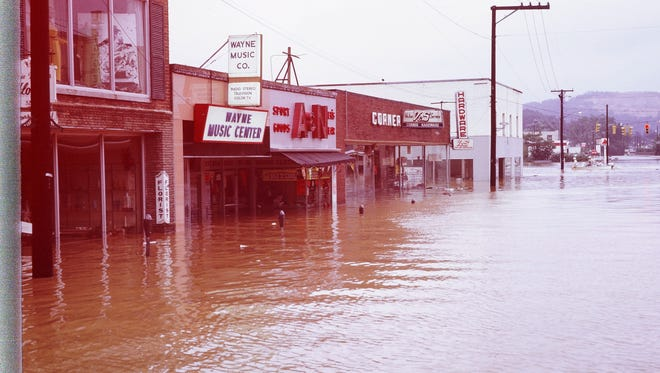 Hurricane Camille put downtown Waynesboro underwater.