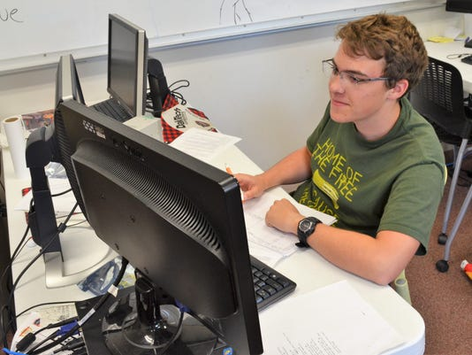 Collin Gros studying at NDSU