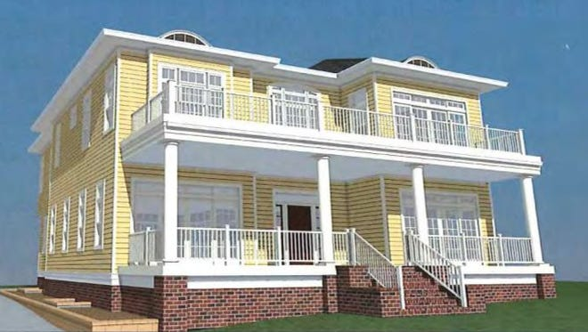 The Sapienza home is shown in this artist rendering, which reduces the height of the roof by 8.5 feet.