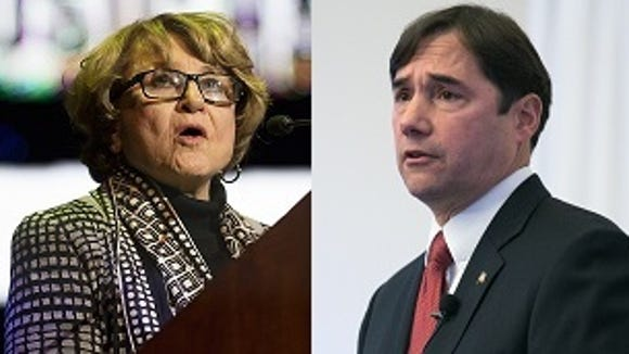 Rep. Louise Slaughter and her challenger, Gates town
