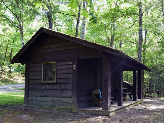 Buttermilk Falls State Park in Ithaca has 18 cabins