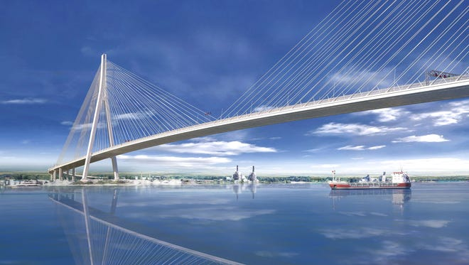 A rendering of the Gordie Howe International Bridge, a cable-stayed design with the longest main span in North America at about 933 yards, and with towers rivaling the height of the  Renaissance Center in Detroit. It was revealed in July 2018.