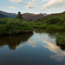The South Fork of the Cache la Poudre River runs serenely through Pingree Park as dawn greets the 100th anniversary of Colorado State Universityâ??s Pingree Park Campus, August 9, 2014.