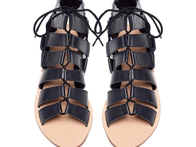 """Loeffler Randall """"Skye"""" gladiator sandal, $225, www.loefflerrandall.com."""