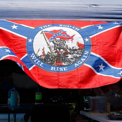 A Confederate flag is seen in the infield at Daytona