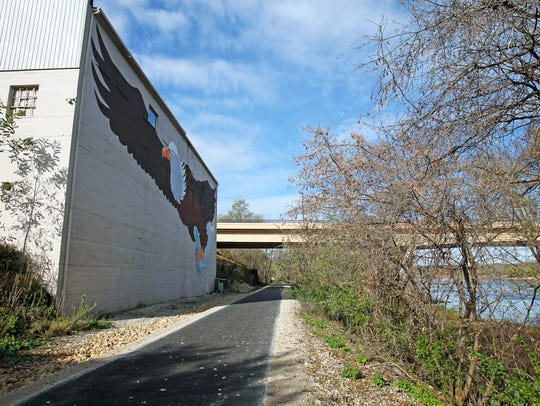 The Great Sauk State Trail passes by an eagle mural