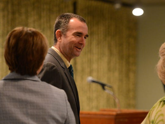 Virginia Lt. Gov. Ralph Northam meets with attendees at the Eastern Shore Christian Businessmen's Association's 25th annual prayer breakfast.