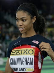 United States' Vashti Cunningham reacts after she won the women's high jump final during the World Indoor Athletics Championships, Sunday, March 20, 2016, in Portland, Ore. (AP Photo/Elaine Thompson)
