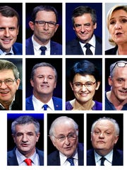 This combination of file photos show the eleven French official presidential candidates: Top from left: Emmanuel Macron, Benoit Hamon, Francois Fillon, Marine le Pen. Middle form left: Jean-Luc Melelchon, Nicolas Dupont-Aignan, Nathalie Arthaud, Philippe Poutou. Below from the left: Jean Lassalle, Jacques Cheminade, Francois Asselineau. Imagine if Americans elected a president who was neither Democrat nor Republican. France is facing a similarly shocking scenario: As the 11 candidates head into a debate Tuesday, the traditional left-right contenders are overshadowed by rivals pledging to turn today's system on its head.