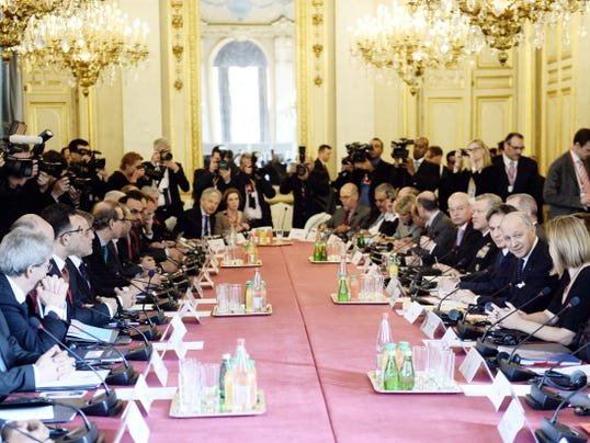 Foreign Ministers and members of the anti-Islamic State coalition meet in Paris, France, to discuss strategy in fighting the jihadists who have made key battlefield advances in recent weeks in Iraq and Syria, Tuesday, June 2, 2015.