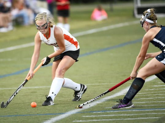 Palmyra's Katelyn Mark (17) scored the second of three goals for the Cougars in Monday night's home showdown with Hershey.