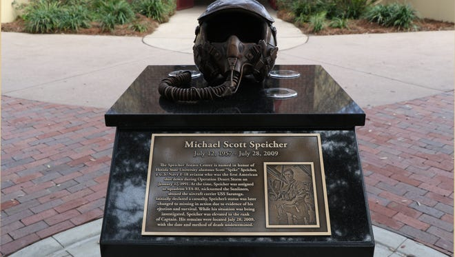 FSU unveiled the new Scott Speicher memorial in front of the tennis center Friday.