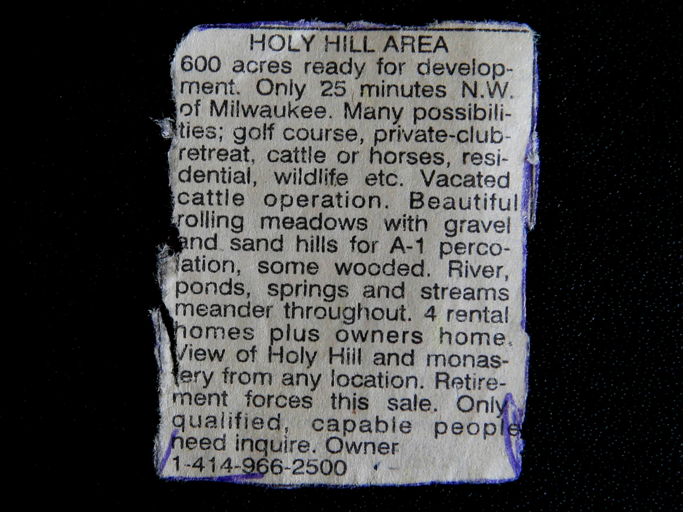 This is the ad that caught the attention of Lillian Williamson.
