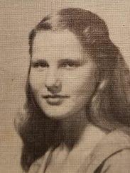 Cunningham school 1956 yearbook photo of Nancy Todd,