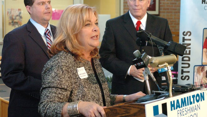Hamilton Schools Superintendent Janet Baker welcomed then-Ohio Gov. Ted Strickland in 2009.