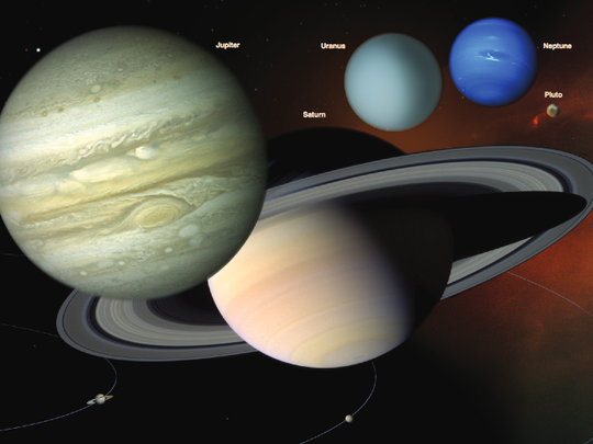 Diagram of the solar system.