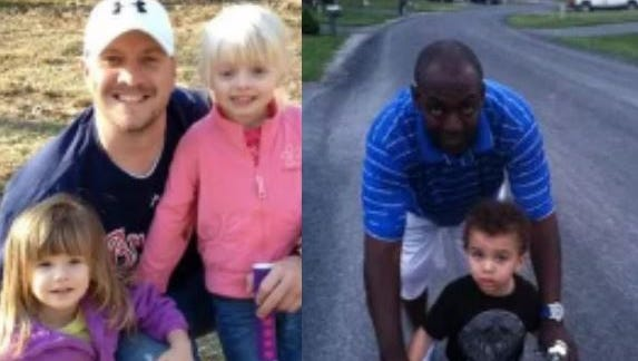 Phillip Jackson, left, and Brandon Cole, right, are pictured with their children. Both fathers were killed in a triple-homicide one year ago, on June 25-26, 2016. The third victim, Wendy Chaney, is not pictured, as her family did not return requests for comment.