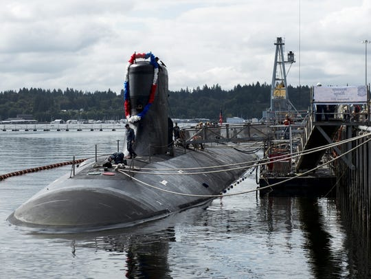 The fast-attack submarine USS Seawolf is shown returning to Naval Base Kitsap-Bremerton in 2015.