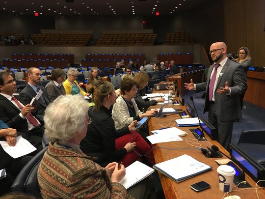 Justin Wedes, of Detroit Water Brigade, addresses the Commission for Social Development at the United Nations, for its Civil Society Forum, on Feb. 1, 2016.