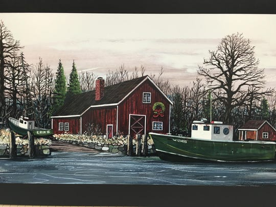 """Painting by Ben Schenkelberg, part of the """"An Architect and His Art"""" exhibit at the Door County Maritime Museum."""