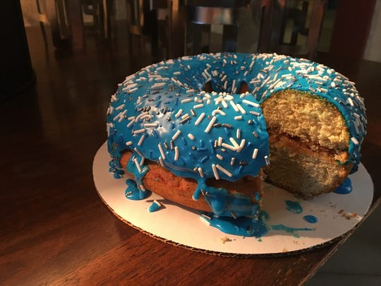 A 4-pound doughnut with Michigan apple filling will