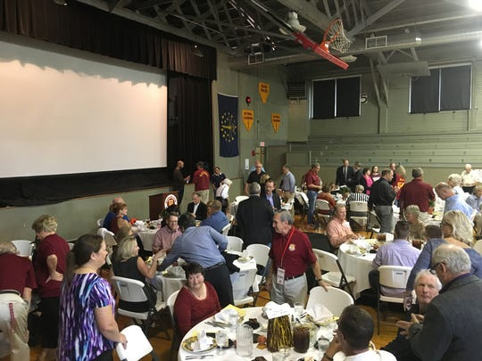 "Fans traveled to Knightstown from as far as Texas and North Carolina to take part in the ""Hoosiers"" 30th anniversary event Saturday at the Hoosier Gym."""