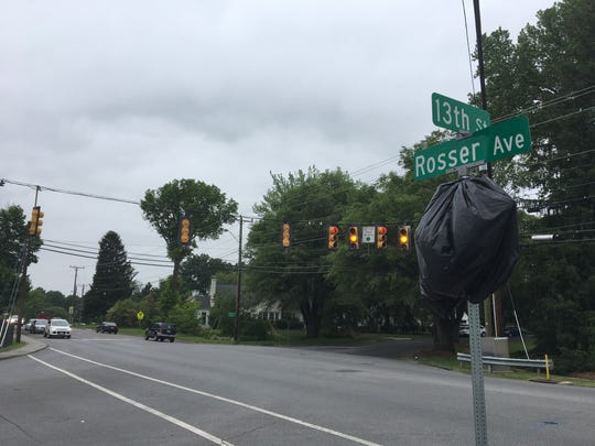 The intersection of Rosser Avenue, 13th Street and Crompton Road in Waynesboro, Va., where the traffic signals are set to be removed in late May to early June 2017.