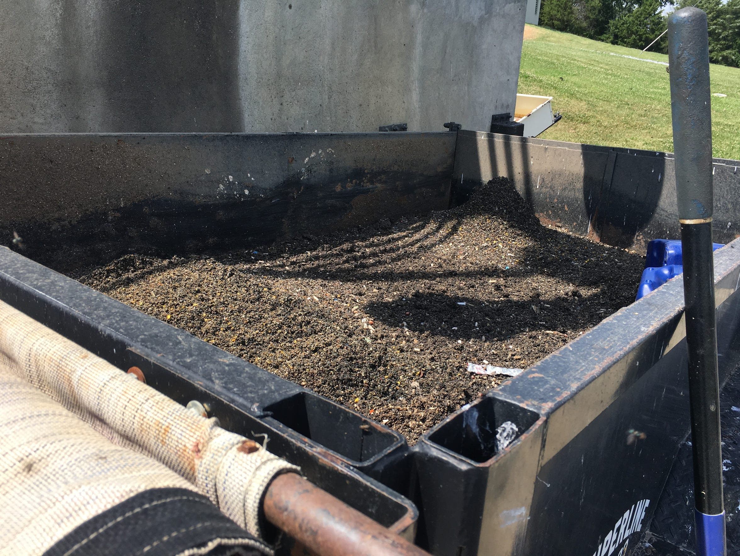 """Material known as """"grit"""" is screened out of the wastewater"""