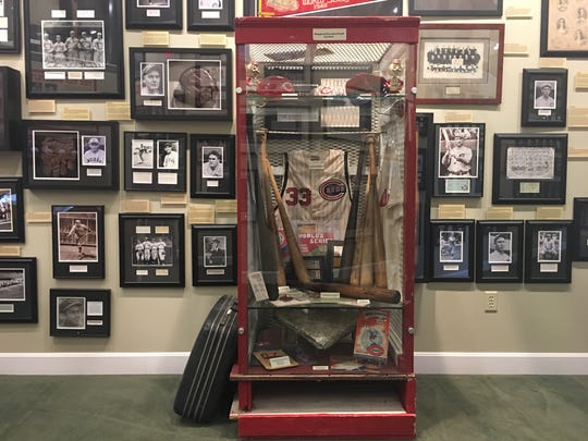 The Cincinnati Reds are featured heavily as the hometown team of the Green Diamond Gallery in Montgomery, Ohio. This is an authentic locker from Crosley Field filled with pieces of Reds memorabilia from a bygone time.
