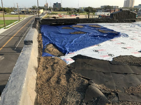 The roof of Good Samaritan Rescue Mission was damaged by winds of Hurricane Harvey on Friday, Aug. 25, 2017.