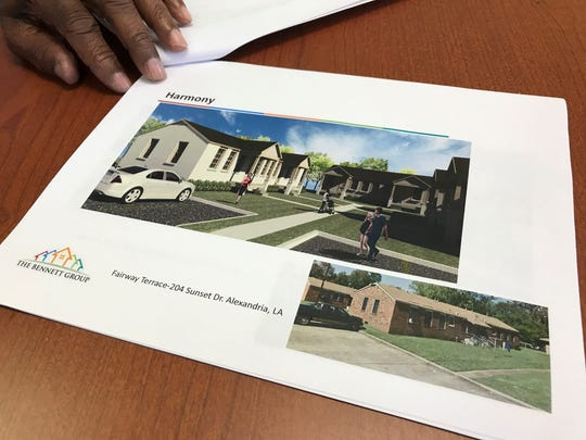 What the Fairway apartments on Monroe Street in Alexandria look like now and an architectural rendering of what they will look like after an overhaul made possible by the Rental Assistance Demonstration program.