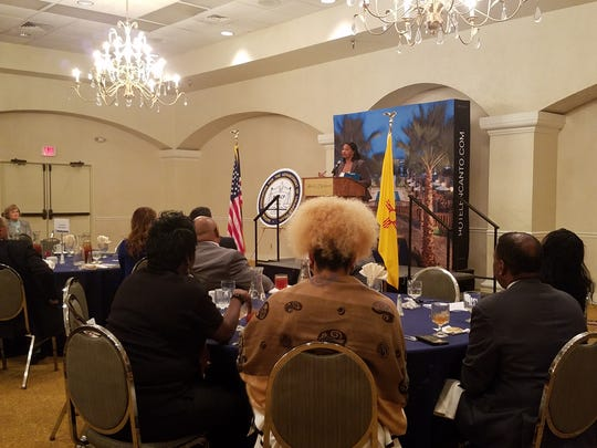 Sonia Gipson Rankin speaks at the 66th Annual New Mexico NAACP State Conference on Saturday, Oct. 28, 2017.