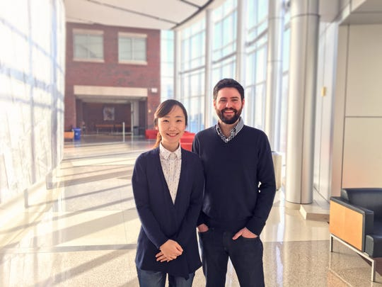 Karl Koehler, assistant professor of otolaryngology at the Indiana University School of Medicine, led the study on hairy skin. He is seen here with the study's first author, Jiyoon Lee, a postdoctoral fellow in his lab.