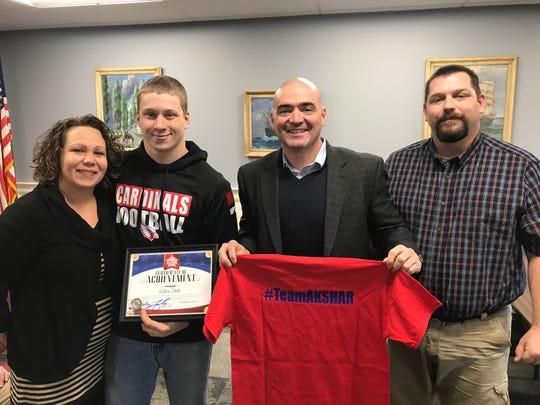 Newark Valley High School senior Collen Hills was recognized by State Senator Fred Askshar as one of 'Akshar's All-Stars.'