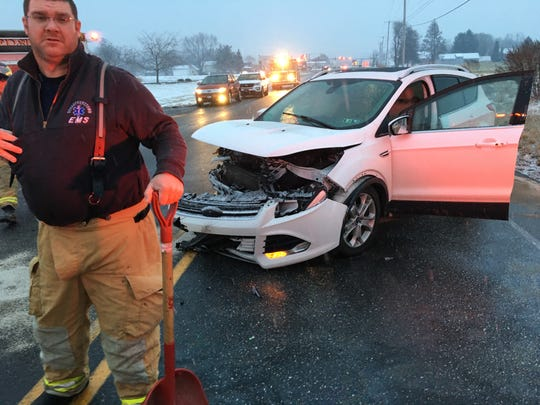 A vehicle involved in a near head-on crash with another vehicle at 4:40 p.m. Jan, 16, 2018 just south of Dutchway, 2483 Stiegel Pike, Heidelberg Township. Three people, the two drivers and a passenger, were transported to Hershey Medical Center for injuries sustained in the crash.