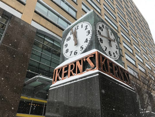 The Kern's Clock on the corner of Woodward and Gratiot