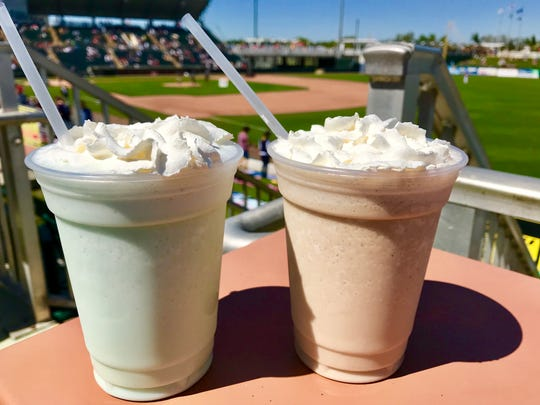 Beer shakes (Key lime and root beer) served at Hammond Stadium, the spring training home of the Minnesota Twins in Fort Myers, Florida.