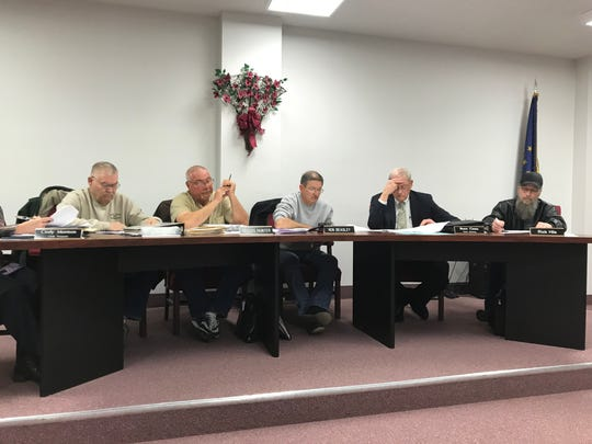 The Dale Town Council listens during its monthly meeting