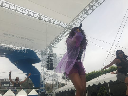 Justine Skye performs at The Parker Palm Springs during Weekend 1 of Coachella 2018.